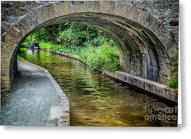 Tow Greeting Cards - Canal Bridge Greeting Card by Adrian Evans