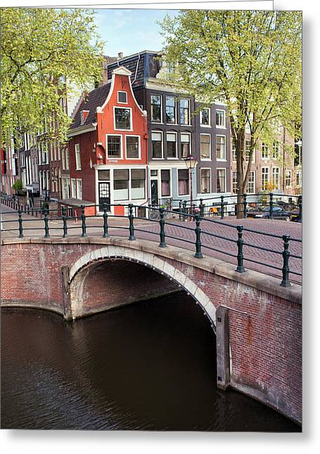 Residential Structure Greeting Cards - Canal Bridge and Houses in Amsterdam Greeting Card by Artur Bogacki