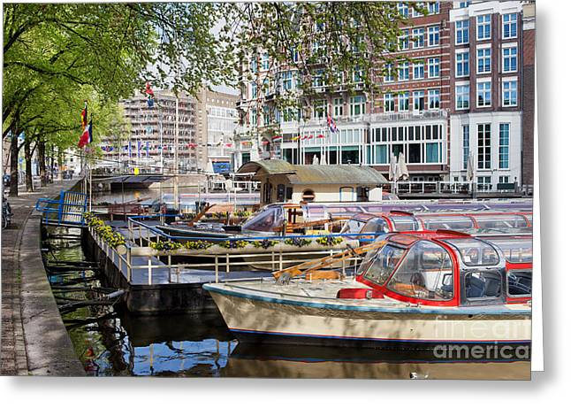 Boat Cruise Greeting Cards - Canal Cruise Boats in Amsterdam Greeting Card by Artur Bogacki