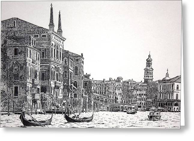 Sunset Greeting Cards Drawings Greeting Cards - Canal Grande Greeting Card by Gordon J Weber