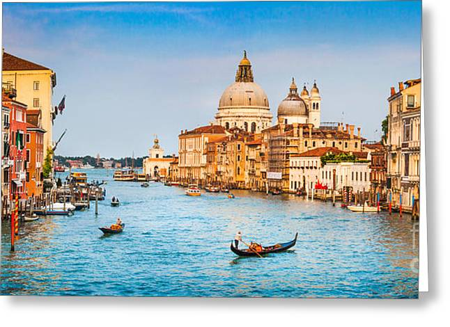 Italian Islands Greeting Cards - Canal Grande Sunset Greeting Card by JR Photography