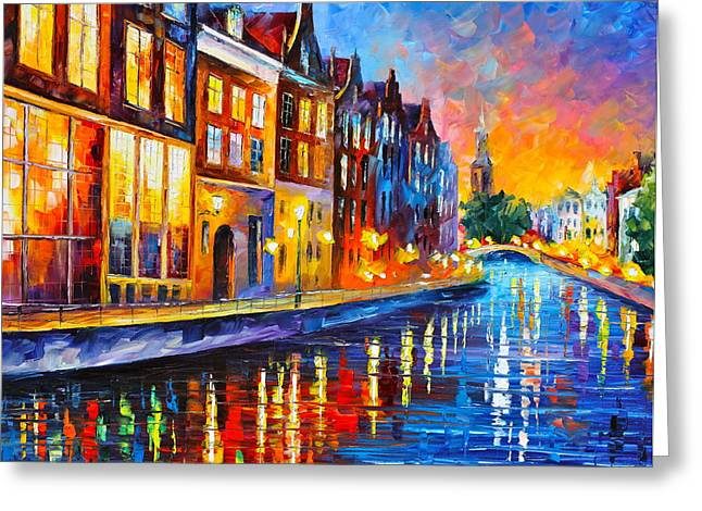 Amsterdam Greeting Cards - Canal in Amsterdam Greeting Card by Leonid Afremov