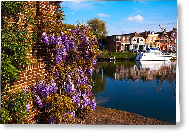 Reflectio Greeting Cards - Canal in Brielle. Netherlands Greeting Card by Jenny Rainbow