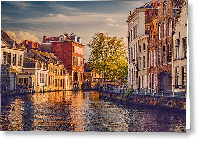 City Canal Greeting Cards - Canal in Bruges Greeting Card by Wim Lanclus