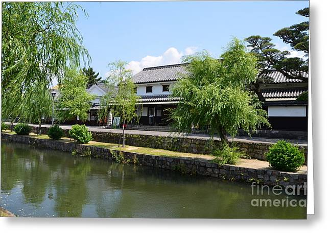 Historical Buildings Pyrography Greeting Cards - Canal in Kurashiki Greeting Card by Yoshiko Wootten