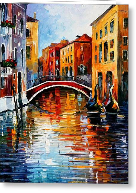 Recently Sold -  - City Art Greeting Cards - Canal In Venice - PALETTE KNIFE Oil Painting On Canvas By Leonid Afremov Greeting Card by Leonid Afremov