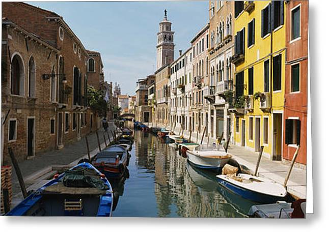 Reflections Of Sky In Water Greeting Cards - Canal Passing Through A City, Venice Greeting Card by Panoramic Images
