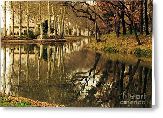 Wine Tour Greeting Cards - Canal Reflections Greeting Card by France  Art