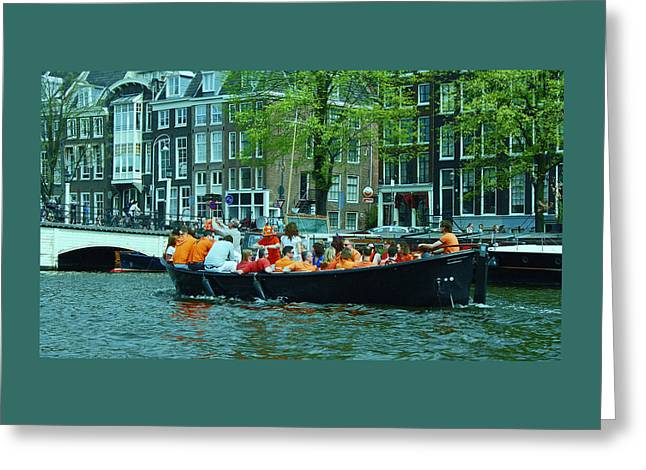 Blue Green Water Greeting Cards - Canal Scene 5 - World Cup Fever Greeting Card by Allen Beatty