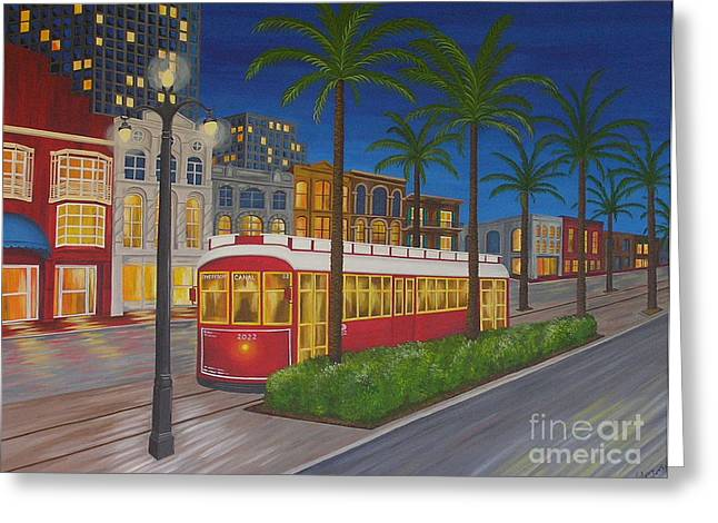 Canal Street Car Line Greeting Card by Valerie Carpenter