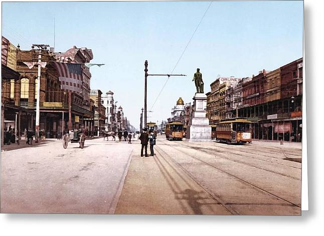 Canal Street New Orleans 1900 Greeting Card by Unknown