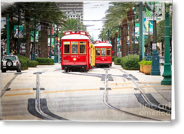 Canal Street Greeting Cards - Canal Street Streetcars New Orleans Greeting Card by Jarrod Erbe