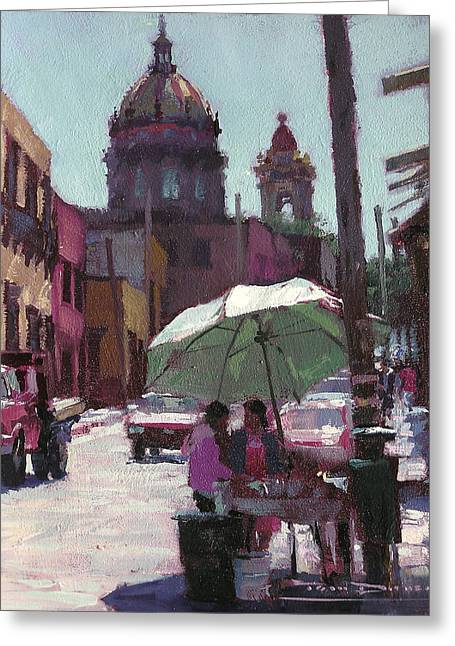 Tom Dickson Greeting Cards - Canal Street Vendors Greeting Card by Tom Dickson