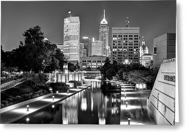 Indiana Greeting Cards - Canal Walk to Indianapolis Indianas Skyline Greeting Card by Gregory Ballos