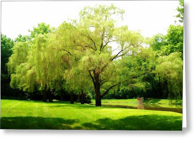 Hazy Summer Day Greeting Cards - Canal Willow Greeting Card by BackHome Images