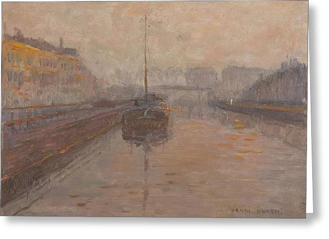 City Canal Greeting Cards - Canal With Barge Oil On Panel Greeting Card by Henri Duhem