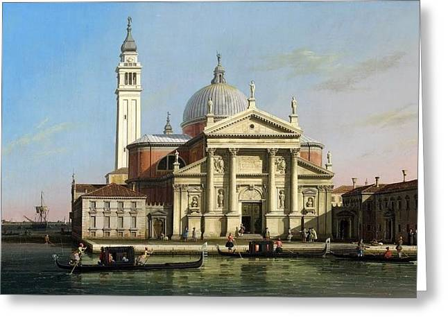 Kilburne Posters Greeting Cards - Canaletto The Church of S Giorgio Maggiore Venice with sandalos and gondolas  c 1748 Greeting Card by MotionAge Designs
