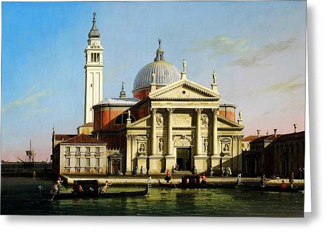 Kilburne Posters Greeting Cards - Canaletto The Church of S Giorgio Maggiore Venice with sandalos and gondolas  Greeting Card by MotionAge Designs