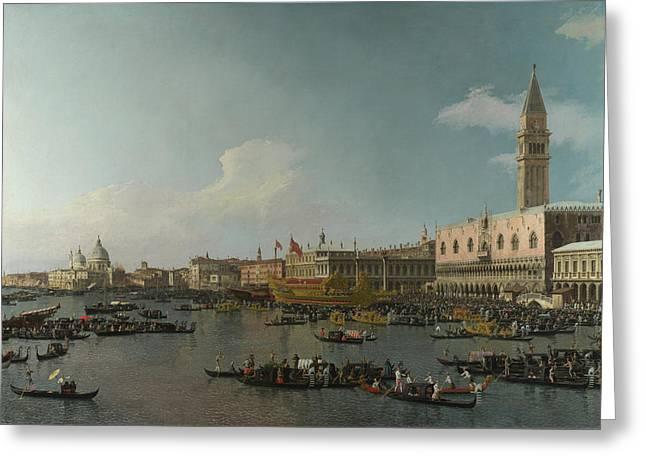 Malevich Greeting Cards - Canaletto Venice The Basin of San Marco on Ascension Day c 1740  Greeting Card by MotionAge Designs
