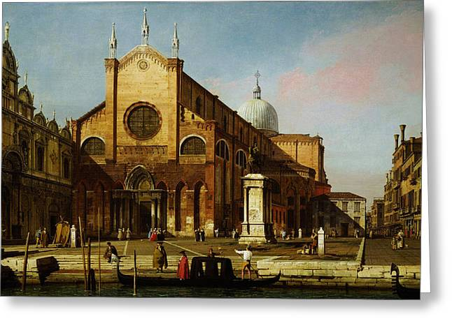 Constable Greeting Cards - Canaletto Venice The Campo SS Greeting Card by MotionAge Designs