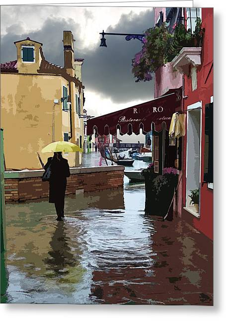 Flooding Digital Art Greeting Cards - Canals Flooding in Venice Greeting Card by John Parks