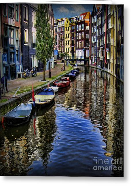 Canals Of Amsterdam Greeting Card by Lee Dos Santos