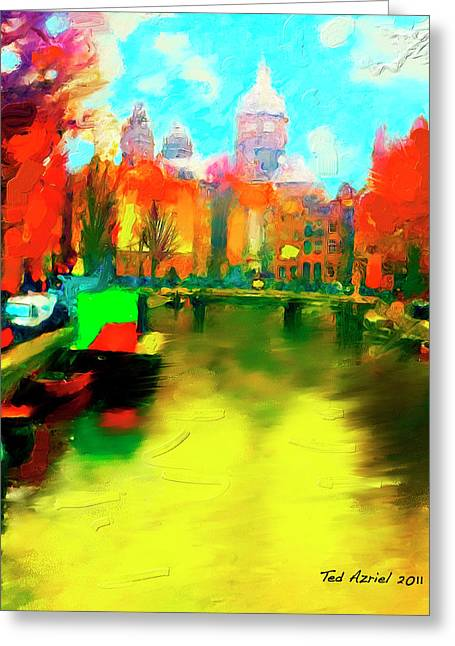 Canals Of Amsterdam Greeting Card by Ted Azriel