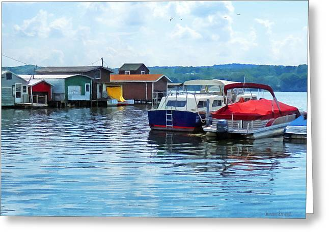 Susan Savad Greeting Cards - Canandaigua Fishing Shacks Greeting Card by Susan Savad