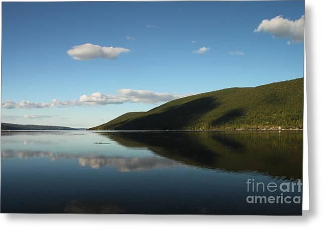 Canandaigua Lake Greeting Cards - Canandaigua Lake Reflection Greeting Card by Steve Clough