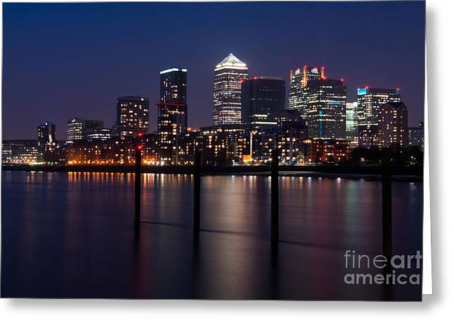 Canary Wharf Cityscape London England Greeting Card by Bill Cobb