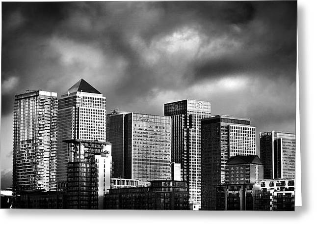 City Buildings Greeting Cards - Canary Wharf London Greeting Card by Mark Rogan