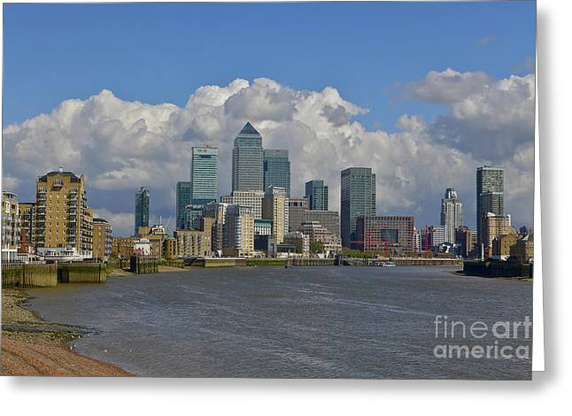 Londoners Greeting Cards - Canary Wharf Skyline in London England Greeting Card by Bill Cobb