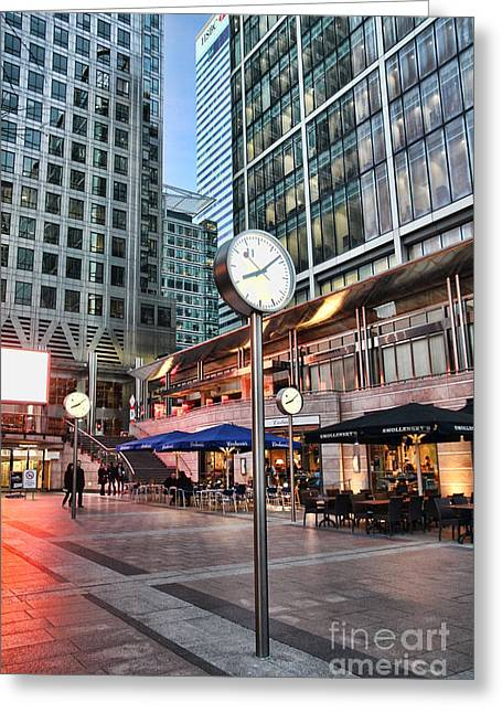 Timepieces Greeting Cards - Canary Wharf Twilight Greeting Card by Jasna Buncic