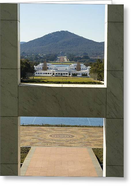 Steven Ralser Greeting Cards - Canberra - Parliament House View Greeting Card by Steven Ralser