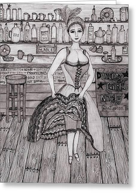 Ruffled Skirt Greeting Cards - Cancan Dancer Greeting Card by Barbara St Jean