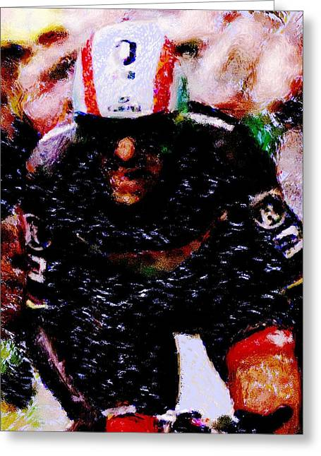 Trial Mixed Media Greeting Cards - Cancellara going for the finish Greeting Card by Wheely Art