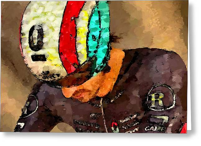 Trial Mixed Media Greeting Cards - Cancellara prepares Greeting Card by Wheely Art