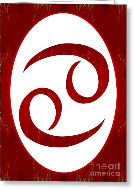 Cancer And Root Chakra Abstract Spiritual Artwork By Omaste Witk Greeting Card by Omaste Witkowski