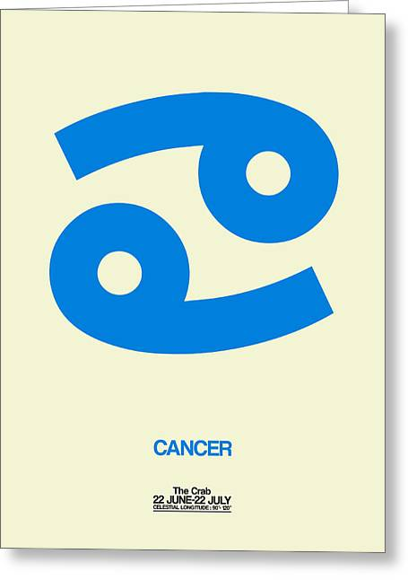 Signed Digital Greeting Cards - Cancer Zodiac Sign Blue Greeting Card by Naxart Studio