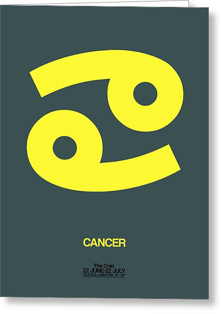 Zodiac. Greeting Cards - Cancer Zodiac Sign Yellow Greeting Card by Naxart Studio