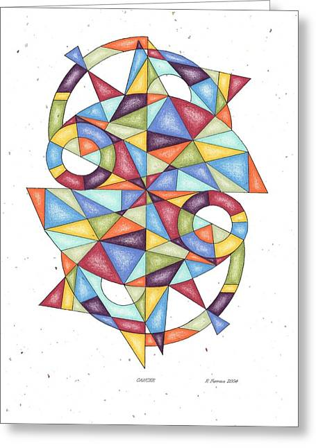 Sacred Drawings Greeting Cards - Cancer Zodiac Symbol Greeting Card by Ruthie Ferrone