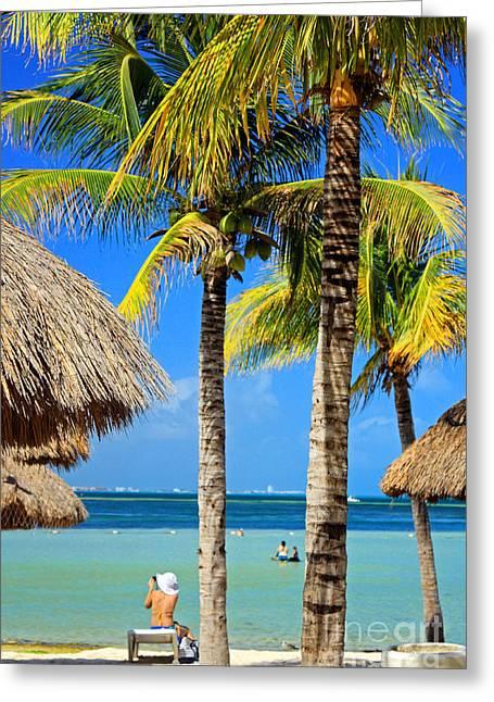 Cancun Greeting Cards - Cancun Beach Greeting Card by Charline Xia