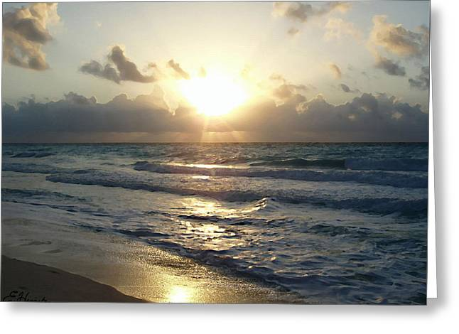 Sun Rays Paintings Greeting Cards - Cancun Sunrise Greeting Card by Ellen Henneke