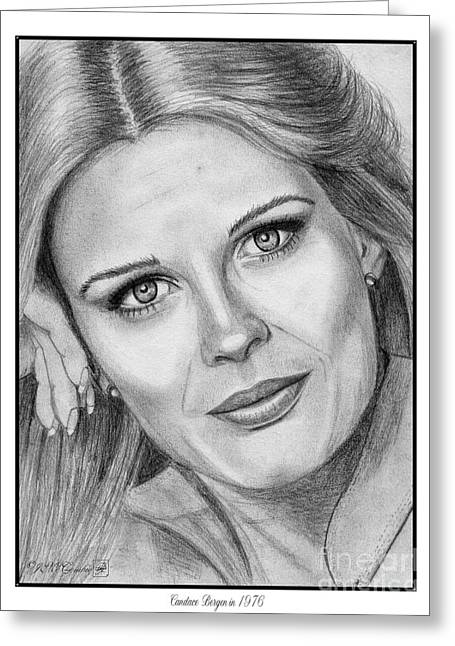 Fame Drawings Greeting Cards - Candace Bergen in 1976 Greeting Card by J McCombie