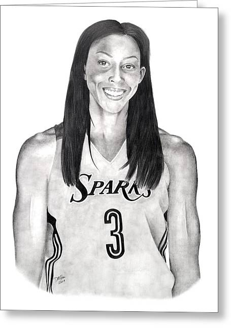 Mvp Drawings Greeting Cards - Candace Parker Spark Greeting Card by Devin Millington