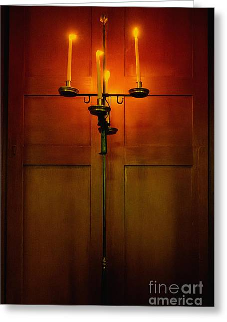 Recently Sold -  - Candle Stand Greeting Cards - Candelabra Greeting Card by Margie Hurwich