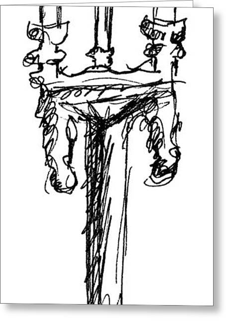 Candle Stand Greeting Cards - Candelabrum Sketch Greeting Card by J M Lister