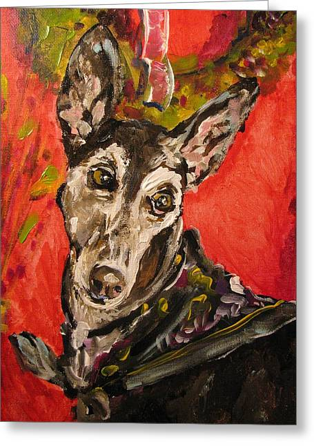 Rescued Greyhound Greeting Cards - Candi Suzanne Greeting Card by Susan E Jones