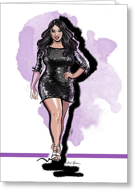 Plus Size Model Greeting Cards - Candice Kickin it in Kami Greeting Card by Renee Reeser Zelnick