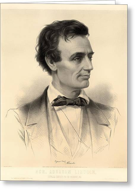 Presidential Elections Greeting Cards - Candidate for the Presidency Abraham Lincoln 1860 Greeting Card by Mountain Dreams